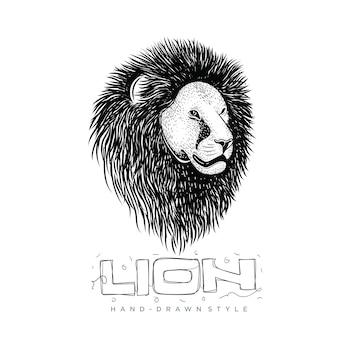 Голова льва, рисованная иллюстрация животных