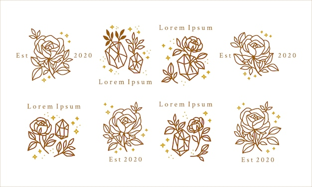金の花、結晶、星と手描きの女性の美しさのロゴ