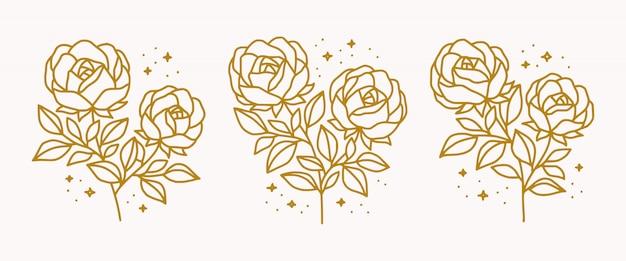 手のコレクションは、美容女性のロゴの要素のための植物の金のバラの花を描いた