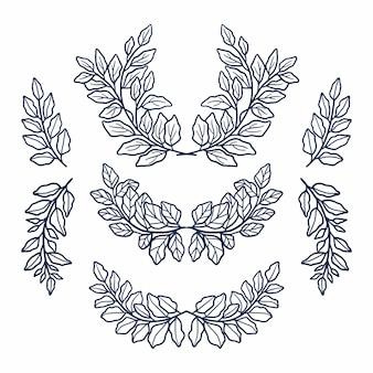 Ботанические листья и цветочные лавры