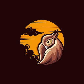 フクロウのロゴデザインイラスト