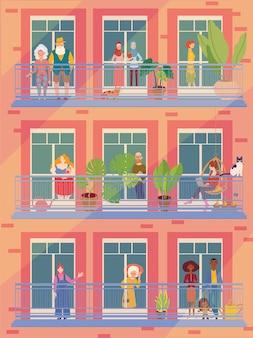 Люди в окнах остаются дома из-за карантина, работают, учатся, ухаживают за домашними цветами, читают. оставайтесь дома концепция.