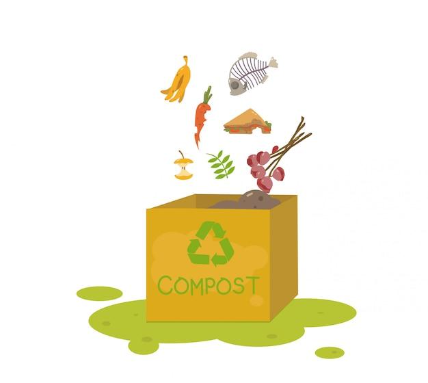 有機性材料が付いている堆肥の大箱。家庭用堆肥化のための有機性廃棄物。
