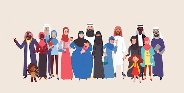 イスラム教徒のアラビア人のグループが幸福に加わりました。一緒に立っているグループの老いも若きイスラム教徒の人々。フラットスタイルのカラフルなイラスト。