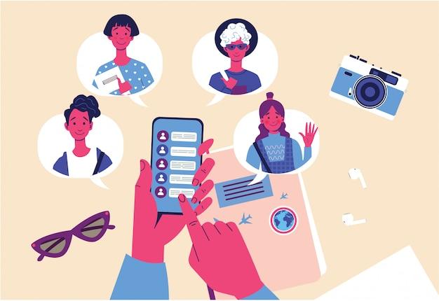 Назовите концепцию друга с помощью руки, держащей телефон со списком контактов друзей. концепция друга, международное общение, онлайн-чат.