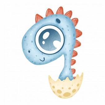 Милый синий ребенок динозавр в яйце на белом фоне
