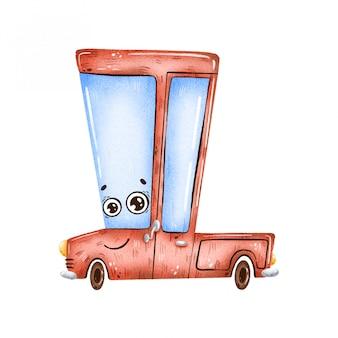 目で手描きのキュートで面白い漫画赤いピックアップトラック