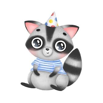 Сидит милый мультипликационный толстый енот в шапке на день рождения и в полосатой рубашке
