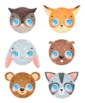 Милый мультфильм лесных животных лица иконки набор. сова, лиса, кролик, бобр, медведь, голова енота. смайлики лесных животных