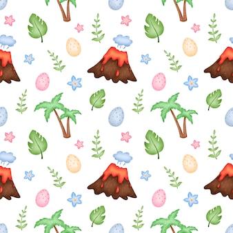 Симпатичные пальмы вулкан бесшовные модели