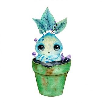 分離された植木鉢にかわいい漫画魔法のマンドレークの根の水彩イラスト