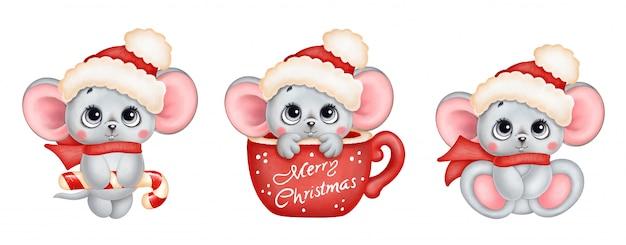 かわいい漫画のクリスマスマウスセット