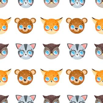 Симпатичные карикатуры лица лесных животных бесшовные модели. фокс, енот, сова, медведь бесшовные модели.