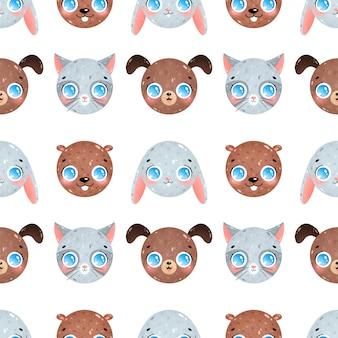 Милый мультфильм животных лица бесшовные модели. кошка, собака, кролик, бобр бесшовные модели.