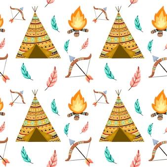 Симпатичные карикатуры американских индейцев бесшовные модели