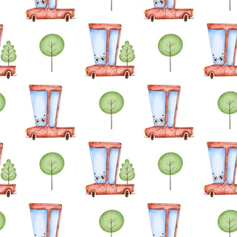 かわいい漫画の車のシームレスなパターン。赤いピックアップトラックと木のシームレスなパターン。
