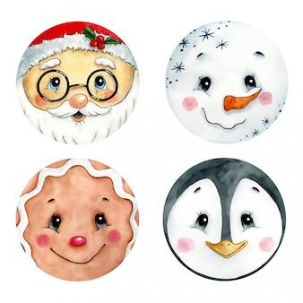 かわいいクリスマスの絵文字セットの水彩イラスト。サンタクロース、ジンジャーマン、ペンギン、雪だるまの顔。