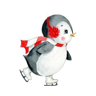 分離されたかわいい漫画クリスマスペンギンアイススケートの水彩イラスト。