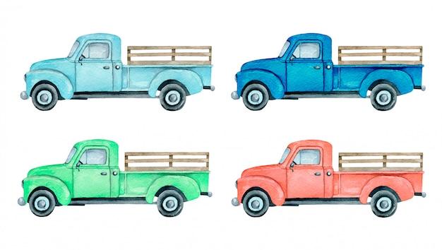 水彩のピックアップトラックのイラストが分離されました。ライトブルー、ブルー、レッド、グリーンのファームトラックピックアップトラックセット。