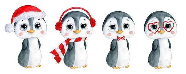 かわいい漫画の冬のクリスマスペンギンセットの水彩イラスト。