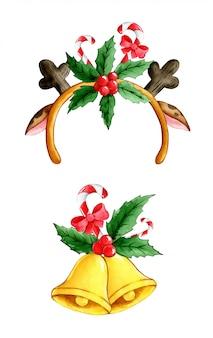 Акварельные мультяшные рождественские оленьи рога и колокольчики с падубом и леденцами