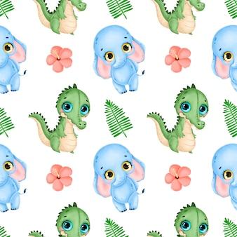 かわいい漫画の熱帯動物のシームレスなパターン。ワニ、象、ヤシの葉、ハイビスカスの花のシームレスなパターン。