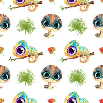 かわいい漫画の熱帯動物のシームレスなパターン。ヘビ、カメレオン、ヤシの葉のシームレスなパターン。