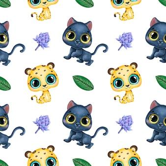 かわいい漫画の熱帯動物のシームレスなパターン。ヒョウ、ヒョウおよび熱帯の葉のシームレスなパターン。