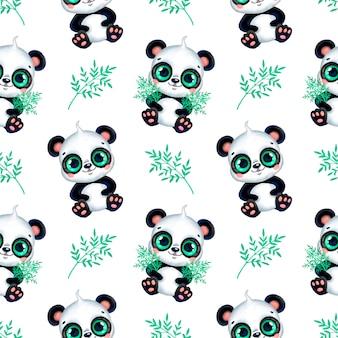 パンダと竹の葉のシームレスなパターン。かわいい漫画の熱帯動物のシームレスなパターン。