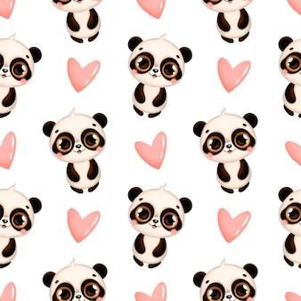 かわいい漫画の熱帯動物のシームレスなパターン。パンダとピンクのハートのシームレスなパターン。