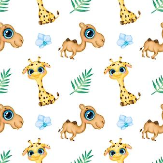 かわいい漫画の熱帯動物のシームレスなパターン。キリン、ラクダ、蘭の花、ヤシの葉のシームレスなパターン。