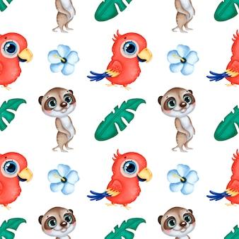 かわいい漫画の熱帯動物のシームレスなパターン。コンゴウインコのオウム、ミーアキャット、ハイビスカスの花、ヤシの葉のシームレスなパターン。
