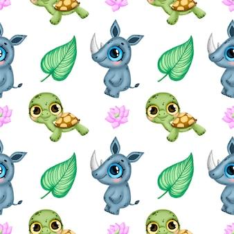 かわいい漫画の熱帯動物のシームレスなパターン。サイ、カメ、熱帯の花と葉のシームレスなパターン。