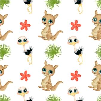 かわいい漫画の熱帯動物のシームレスなパターン。カンガルー、ダチョウ、熱帯の花と葉のシームレスなパターン。オーストラリアの動物パターン。
