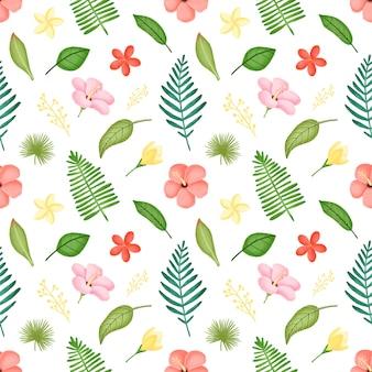 熱帯の葉と花のシームレスなパターン。ハイビスカスの花とヤシの葉のシームレスなパターン。