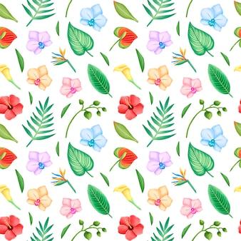 熱帯の葉と花のシームレスなパターン。ハイビスカスの花、蘭、ヤシの葉のシームレスなパターン。