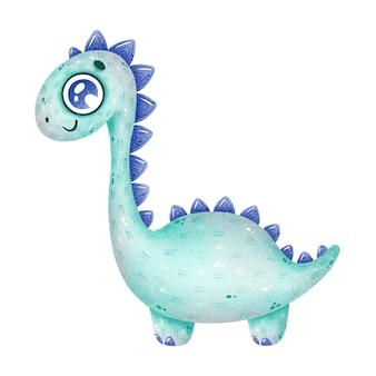 かわいい漫画のライトグリーンの恐竜のイラスト