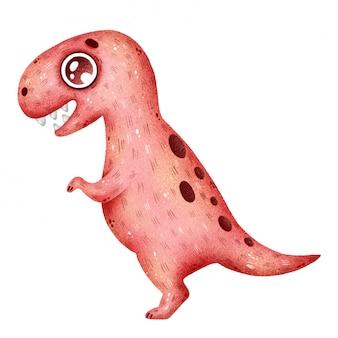 かわいい漫画の赤いティラノサウルス恐竜のイラスト
