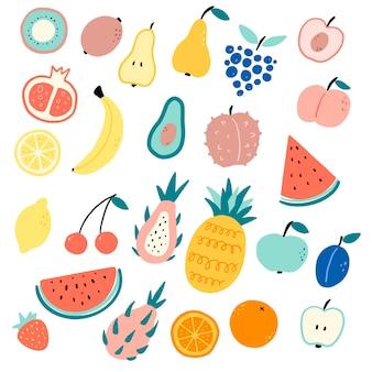 Плоские векторные иллюстрации цвета мультфильма фрукты в стиле каракули.