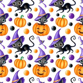 かわいい漫画の魔法のハロウィーンのシームレスなパターン。黒猫、かぼちゃ、ジャック・オランタン、魔法のキノコ。