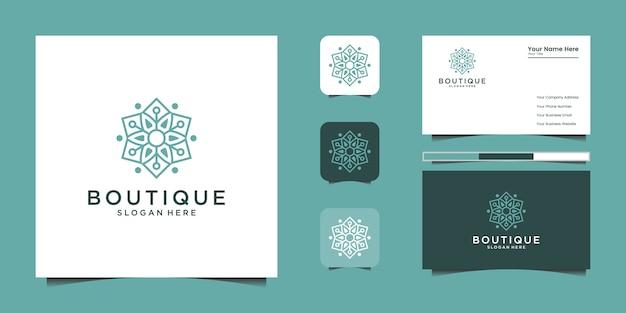 Минималистичный элегантный цветочный логотип для красоты, косметики, йоги и спа. дизайн логотипа и визитки
