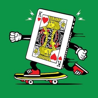 キングポーカーカードスケータースケートボードキャラクター