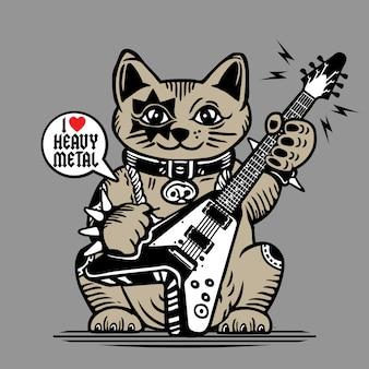 ラッキーフォーチュンキャットヘビーメタルギタープレーヤー