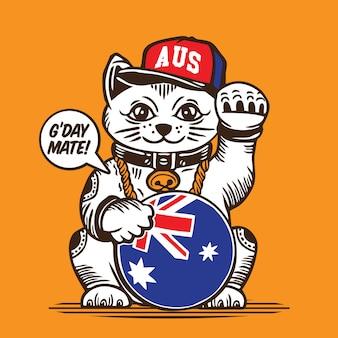 ラッキーフォーチュンキャットオーストラリア国旗キャラクターデザイン