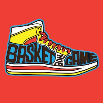 バスケットボールスニーカータイポグラフィー