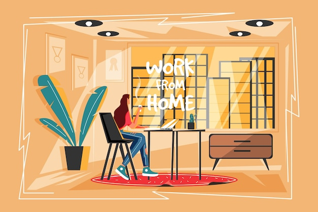 Бизнес женщина работа из дома
