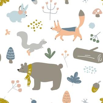 Безшовная картина детей, младенцев или детей, тема зимних животных в лесе