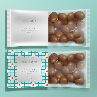 幾何学模様とミルクチョコレートが入った半透明の食品とスナックのパッケージ