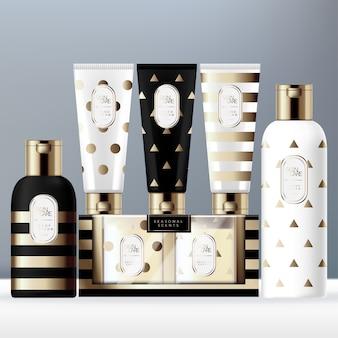 Праздничная упаковка туалетных принадлежностей с бутылкой, тюбиком и ароматизированной свечой в оконной картонной коробке. золотой треугольник с полосками.