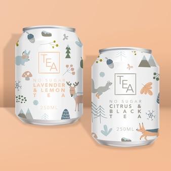 ジュース、ソーダ、紅茶またはコーヒー缶の包装、冬の森の動物の最小限のデザイン